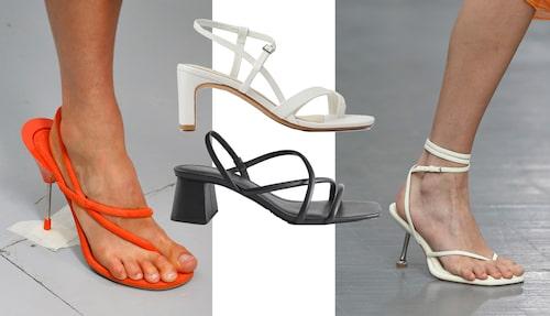 Acne visade höga sandaletter med remmar (tv) liksom Sportmax där remmen går mellan stortån. Vita sandaletter från Vagabond och svarta remsandaletter från & Other Stories.