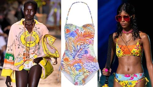 Etro visade strandinspirerat mode för SS21, liksom Versace. Baddräkt från Lingadore.