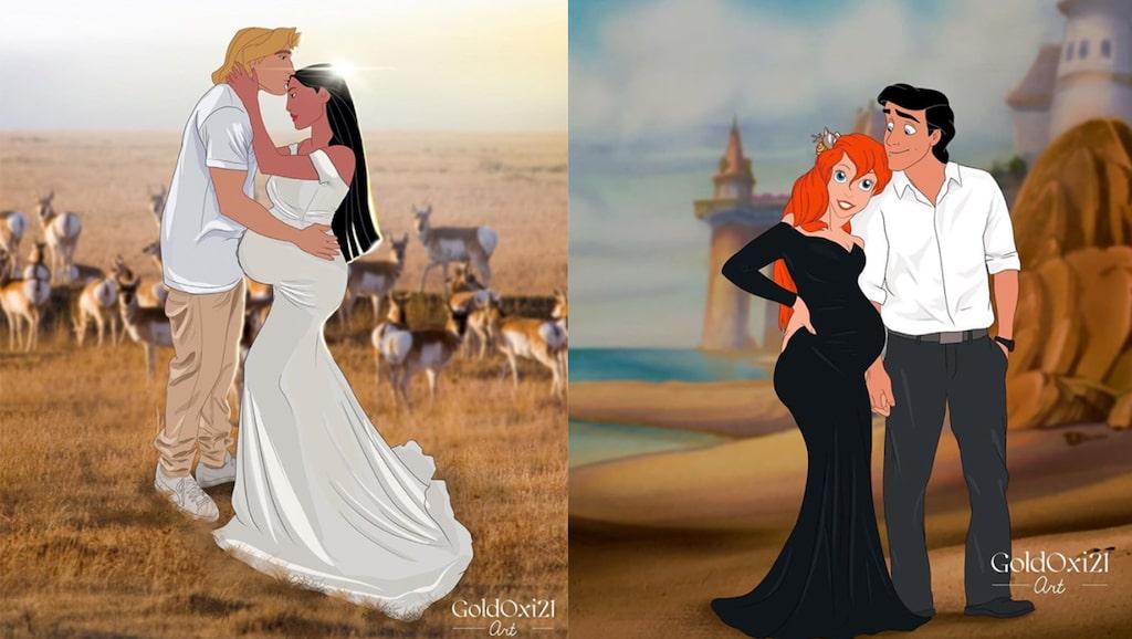 Småbarnsmamman Oksana Pashchenko har illustrerat Disneyprinsessorna som gravida.