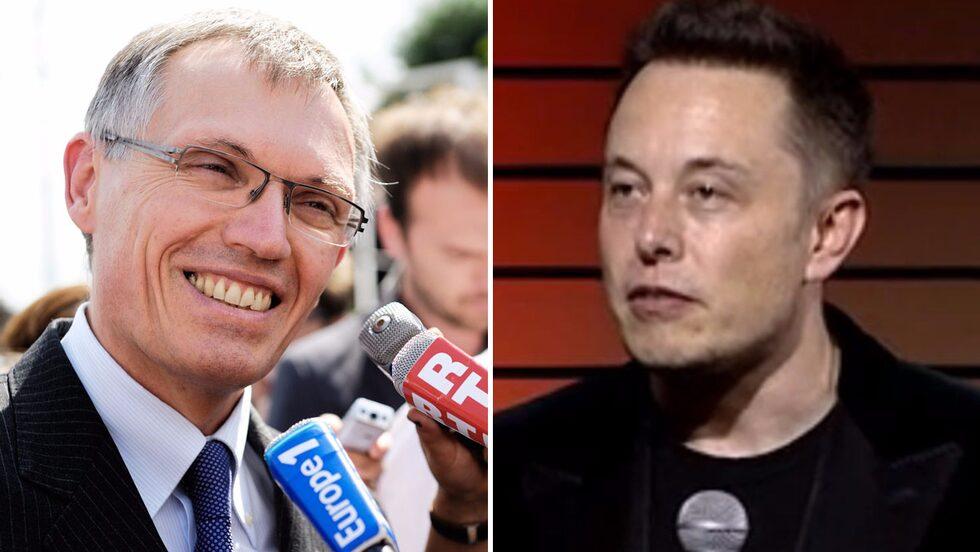 Carlos Tavares, till vänster, vill inte längre köpa utsläppsrätter av Elon Musk. För Musk är affären värd 20 miljarder kronor för tre år.