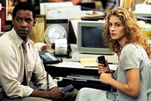 Denzel Wahington och Julia Roberts i Pelikanfallet.