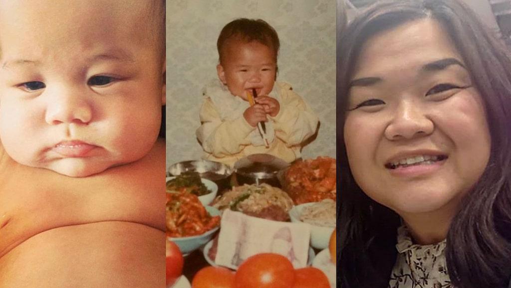 Madeleine In Hwa Björk ser stora likheter mellan sig själv som bebis (mitten) och sin yngsta son Theo ( t v).
