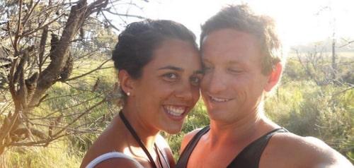 Turia före olyckan tillsammans med pojkvännen Michael Hoskin, som hon idag är gift med.