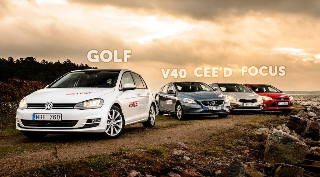 Volkswagen Golf, Volvo V40, Kia Cee'd och Ford Focus