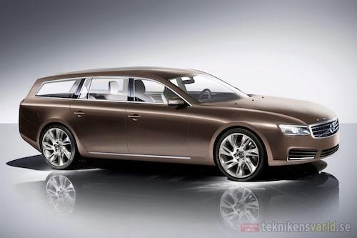 Längre axelavstånd av vackrare proportioner är nya designknep från Volvo. Här Volvo V90 som ersätter V70.