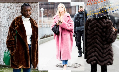 Fuskpälsen är en jacka som passar perfekt till vardags i höst och vinter. Styla till en stickad polotröja och raka jeans.