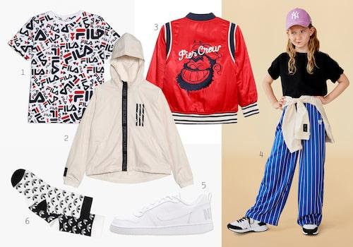 Var cool i sportigt! 1. T-shirt 2. Löparjacka 3. Bomberjacka 4. Byxor 5. Sneakers 6. Strumpor