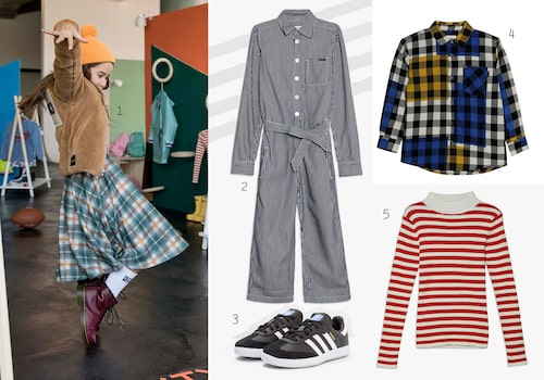 Mixa och matcha mönster hur du vill! 1. Jacka 2. Jumpsuit 3. Sneakers 4. Skjorta 5. Stickad tröja