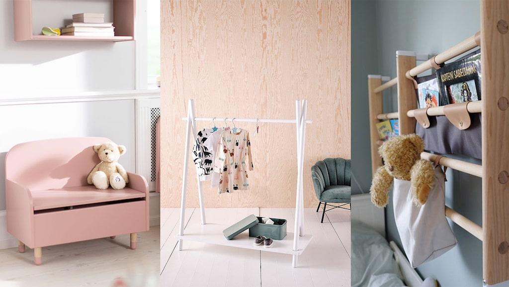 Vi har valt ut små fina möbler till barnrummet.