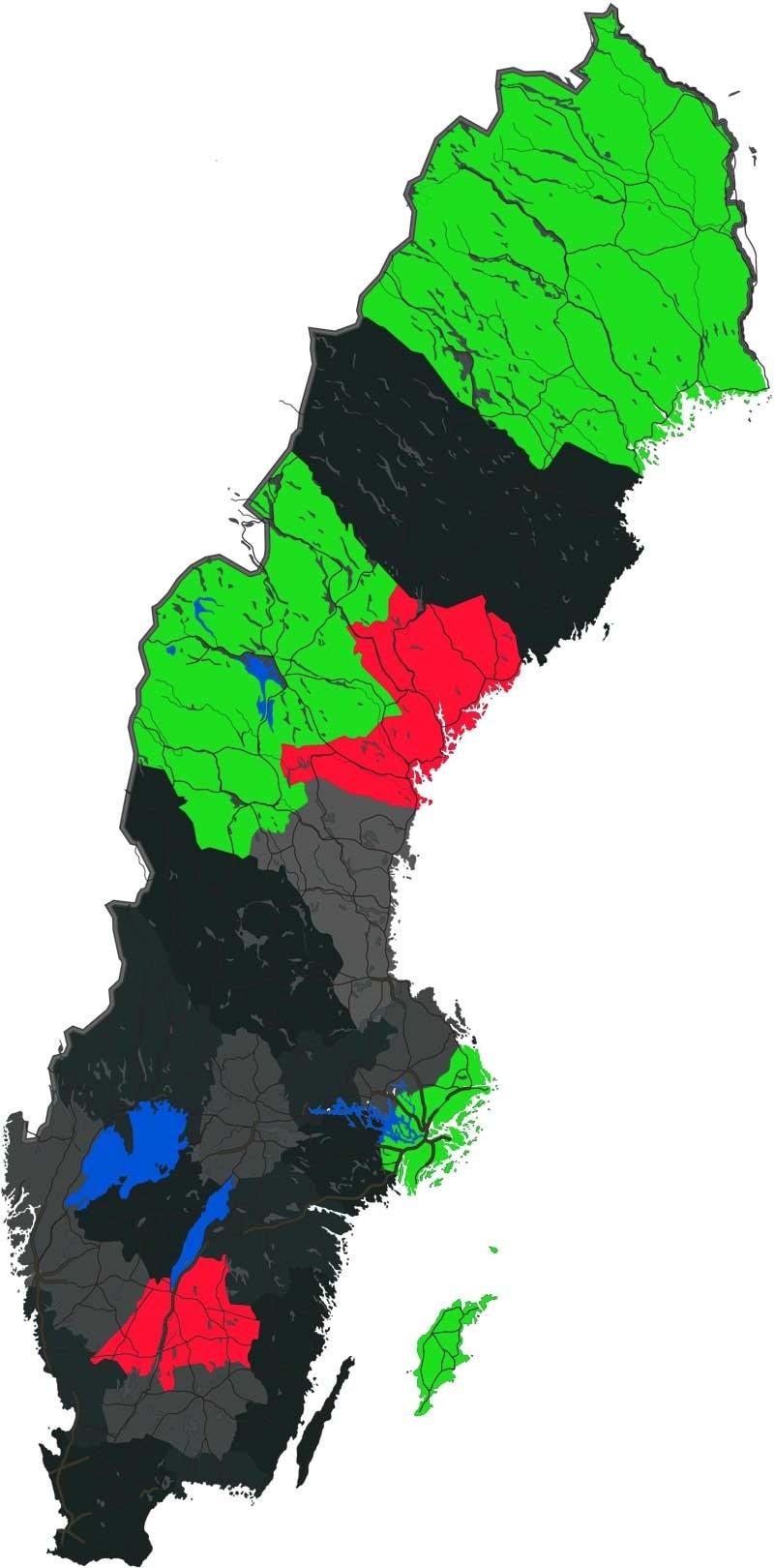 Grönt visar de bästa länen och rött visar de sämsta