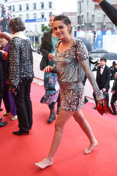 Kristen Stewart bojkottar klackarna under Cannes filmfestival 2018.