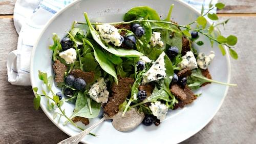 Recept på blåbärssallad med gorgonzola.