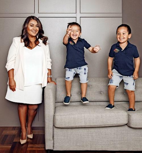 Hanna med sönerna Wilhelm och Henri. Foto: Emily Dahl