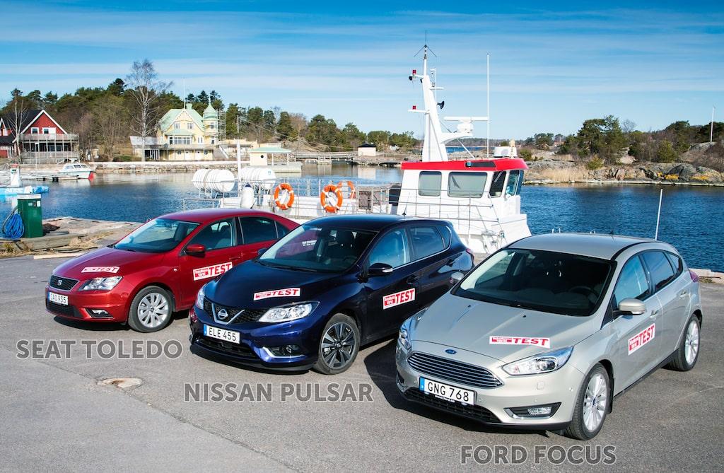 Seat Toledo, Nissan Pulsar och Ford Focus gör sig bra i vacker miljö