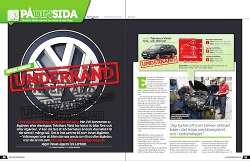 Mätningarna på flertalet VW-bilar före och efter åtgärd, utförda i vårt eget motorlabb, visade att bilarna blev slöare.