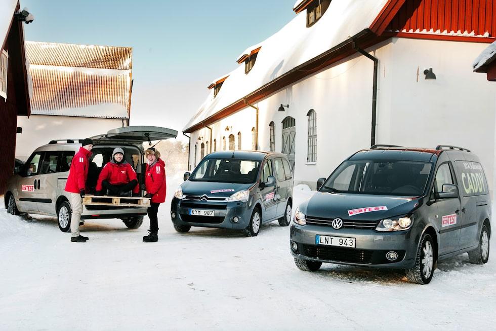 Fiat Doblò, Citroën Berlingo och Volkswagen Caddy.