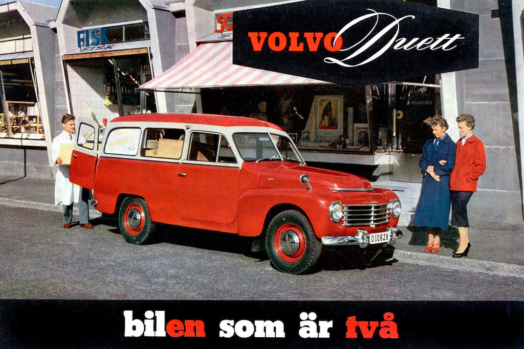 Volvo PV445 Duett, 1953, i tidstypisk säljbroschyr med göteborgshumor.