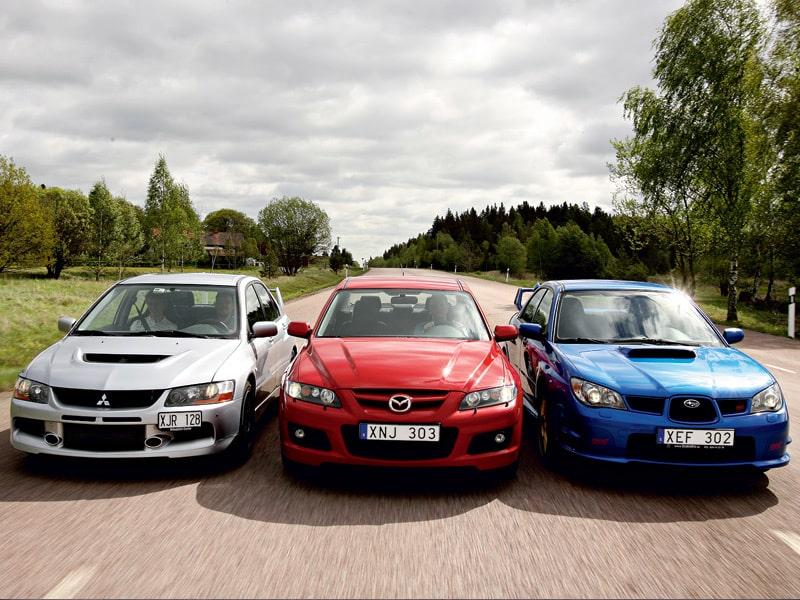 Provkörning av Mazda 6 MPS, Mitsubishi Lancer Evo 9 och  Subaru Impreza WRX STI