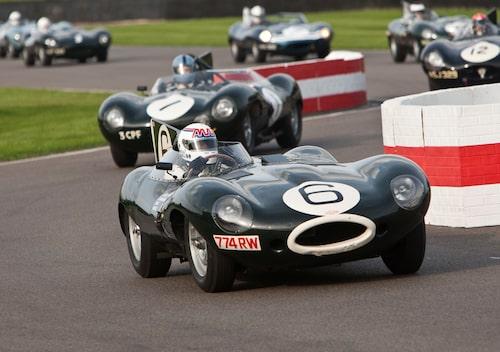 Goodwood Revival är som fina lagrade viner och varje årgång har sin egen speciella smak. Men just 2014 var något speciellt. Kanske för att undertecknad är extremt svag för Jaguars racinghistoria? Nåväl, D-type (som vann Le Mans tre år i rad 1955-57) firades med dels en parad med 33 bilar (både D-type och XKSS) samt tävlingsloppet Lavant Cup med bara D-types. Här sportvagnsesset Andy Wallace, som vann 24-timmars på Le Mans 1988 med Jaguar, bakom ratten i en Long Nose D-type.