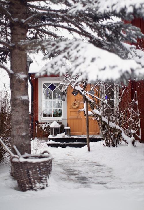 """""""Ett tips är att låta korgar stå ute på vintern, det skapar en härlig miljö ihop med snön"""", säger Christina."""