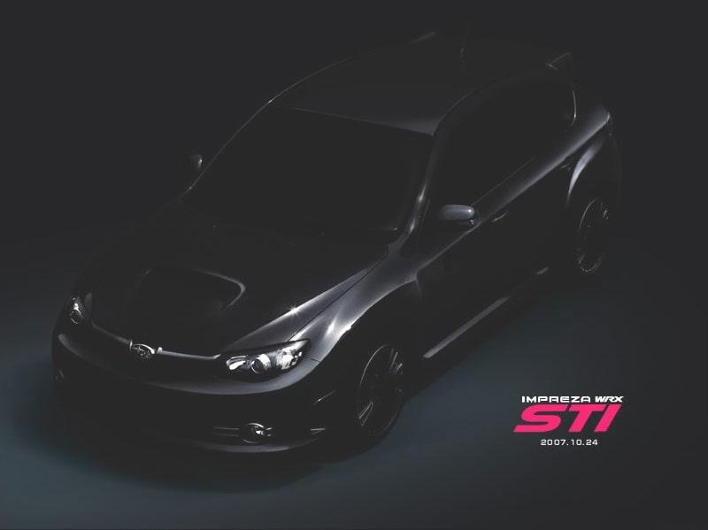 """Tredje officiella bilden som Subaru släppt på WRX STI. Här i """"uppljusad"""" version."""