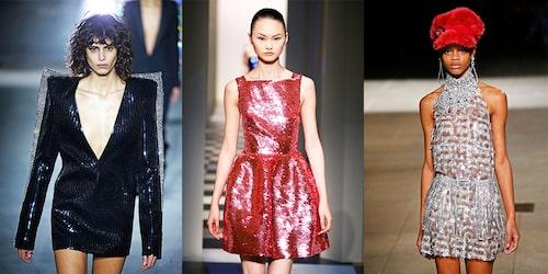 Paljettklänningar direkt från catwalken. Här från Saint Laurent, Oscar De La Renta och Miu Miu.