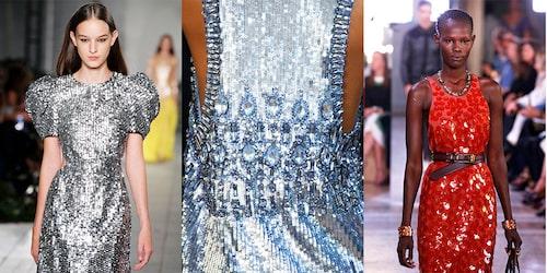 Paljettklänningar direkt från catwalken. Här från Carolina Herrera, Alberta Ferretti och Bottega Veneta.