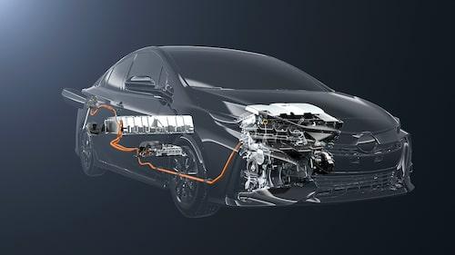 Litiumjonbatteriet (95-cells/8,8 kWh) placerat under bagageutrymmet. Elmotor fram.