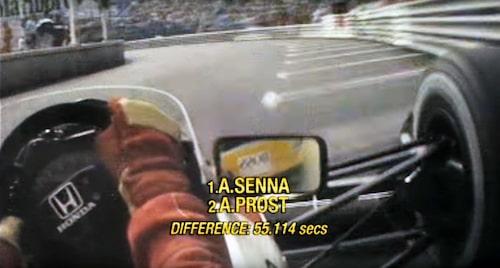Från ombordkameran på Ayrton Sennas bil i Monacos Grand Prix 1988. Trots stor ledning vann Alain Prost, Senna körde nämligen in i muren.