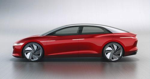 """Konceptbilen ID.Vizzion från 2018 var en bjässe på nästan 5,2 meter och med enormt 111 kWh-batteri. Så stor blir inte """"Aero B"""" som vi ser på spionbilderna i denna artikel."""