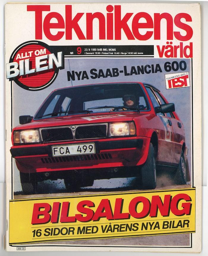 Första testet av svensk-italienaren. Notera registreringsnumret. I dag är Lancia en del av Fiat/Chryslerkoncernen – FCA.