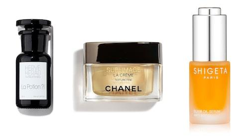 Caroline de Maigrets skönhetsfavoriter: Elixir Oil Serum från Shigeta, La Potion ?! från Hervé Herau och Sublimage från Chanel.