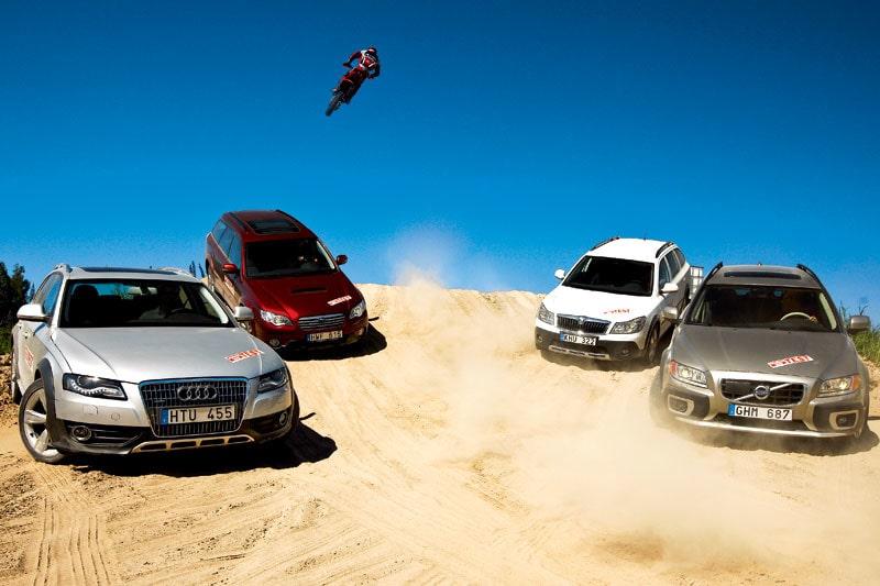 Audi A4 allroad quattro, Subaru Outback, Skoda Octavia Scout och Volvo XC70. Alla med dieselmotor under huven.