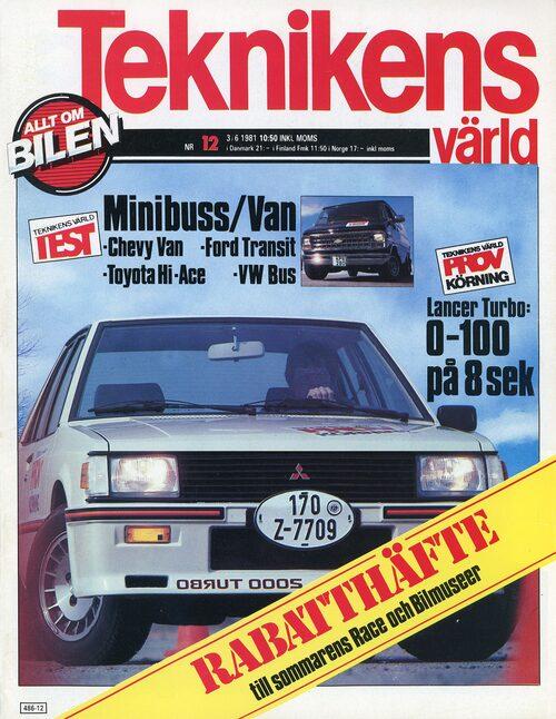Du kan läsa testet av lastvänliga Toyota Hiace i Teknikens Värld nummer 12/1981.