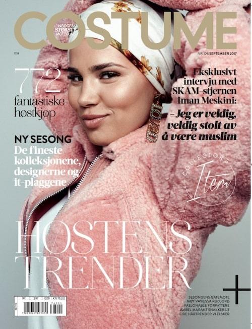 Imam Meskini, som spelar coola Sana i norska tv-serien Skam, på omslaget till danska modemagasinet Costume.