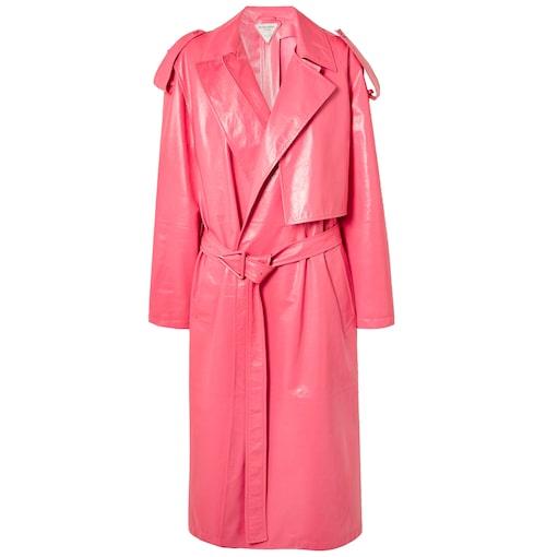 Rosa höstkappa i läder.