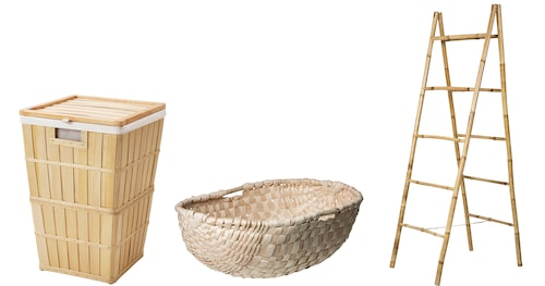 Tvättkorg Brankis, en trären fin nyhet från Ikea, 50 liter (höjd 56 cm), 299 kr.Korg, för tvätt, i flätad hassel, 699 kr, Granit. Hängtorka på stegen som lutar fint mot väggen övrig tid, 399 kr, Granit.