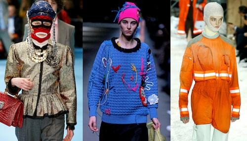 Maxade huvudbonader hos Gucci, Burberry och Calvin Klein.