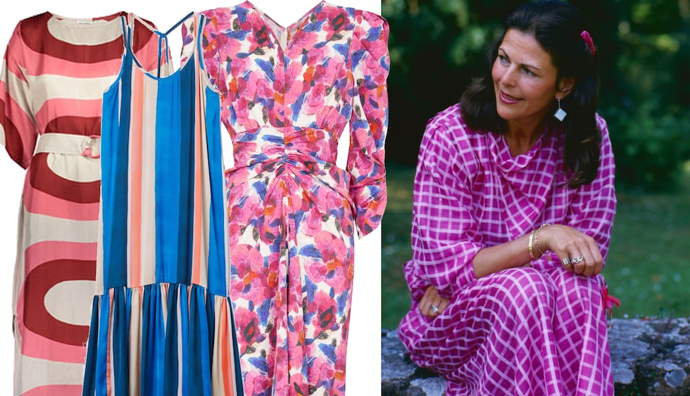 Silvias sommarstil från förr är lika inspirerande nu - och särskilt den mönstrade klänningen!