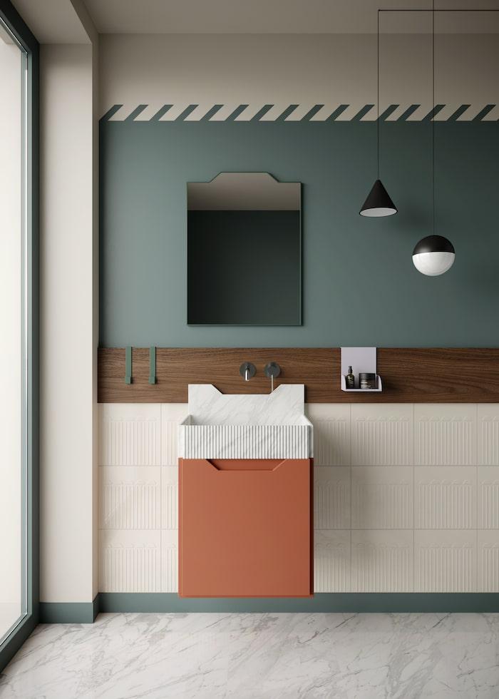 2. Badrumstapet, spegel och handfat ur kollektionen Frieze från Ex.t.