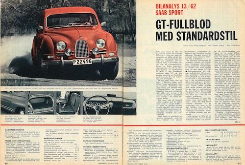 """Trots mycket hård kurvtagning krängde Saab Sport obetydligt. Under rubriken """"GT-fullblod med standardstil"""" gjorde Teknikens Värld 1962 en bilanalys av vad man fann vara en """"helsvensk GT-bil av mycket hög kvalitet""""."""