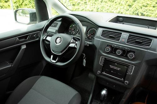 Sparsmakat. E-Caddy startas med nyckel, precis som VW:s minsting e-Up.