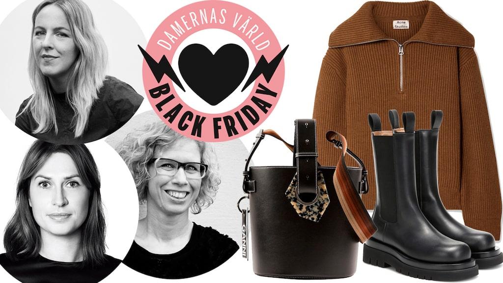 Vad vill redaktionen på Damernas Värld fynda under Black Friday-rean 2019? Allt från märkesväskor, till klassiska tröjor och skönhetsprodukter.
