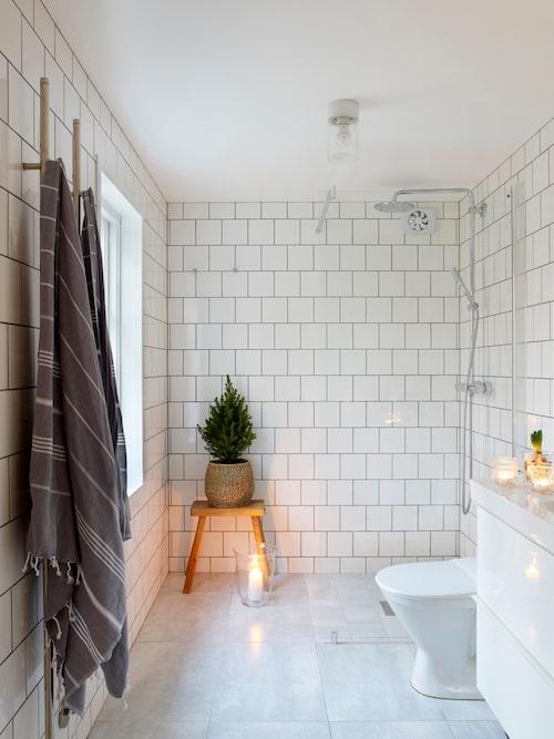 En näpen rumsgran och hyacinter fyller badrummet med juldoft.
