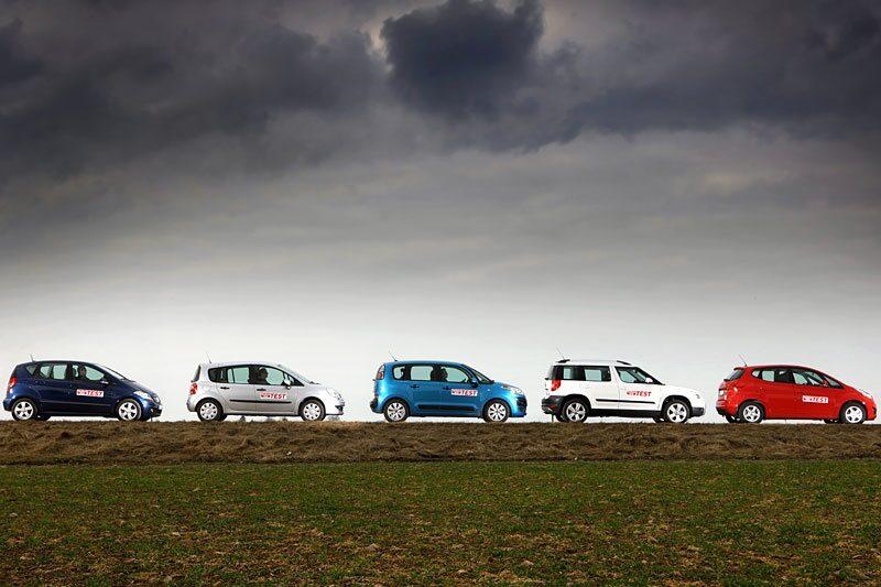 Från vänster till höger: Mercedes A-klass, Renault Grand Modus, Citroën C4 Picasso, Skoda Yeti och Kia Venga.