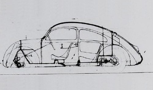 Tidig ritning av Volkswagen Typ 1.
