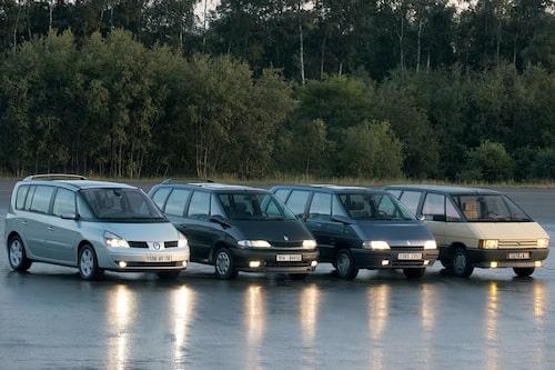 Fyra generationer Renault Espace, från 1984 till 2012.