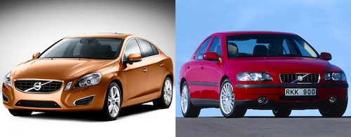 Jämförelse Volvo S60 generation 2 mot generation 1.
