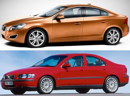 Jämförelse Volvo S60 generation 2 mot generation 1. Undre bilden spegelvänd för jämförelsens skull.