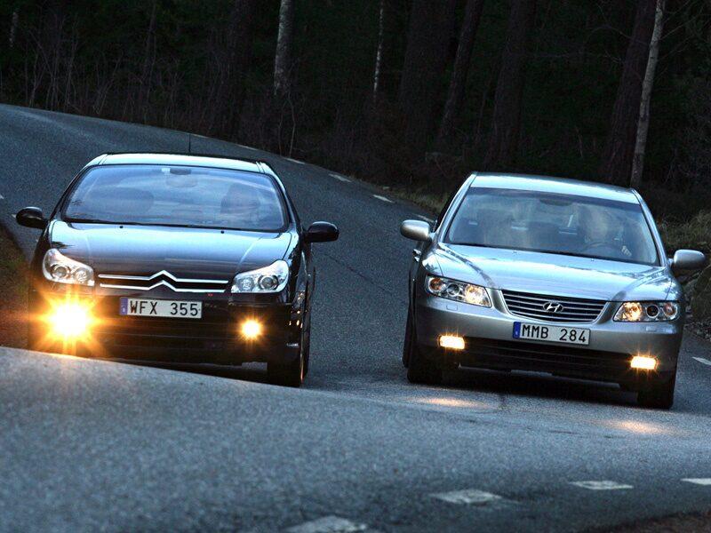 Provkörning av Citroën C5 Exklusive och Hyundai Grandeur